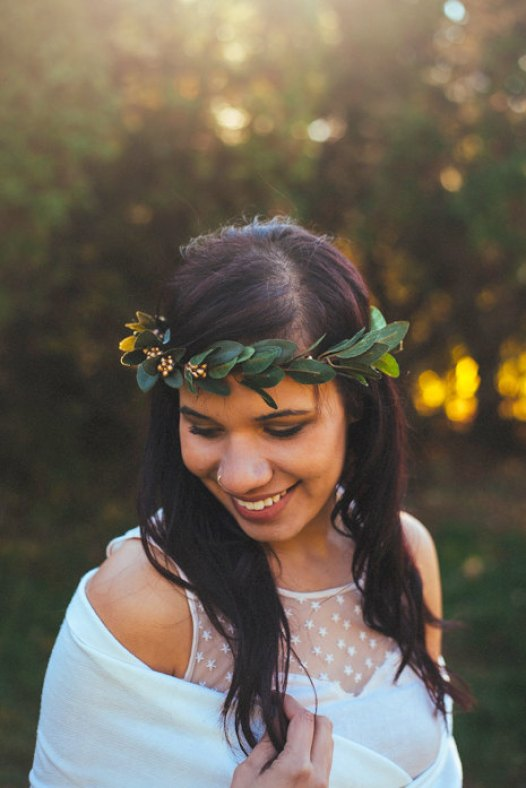gold berry hair crown - winter wedding accessories