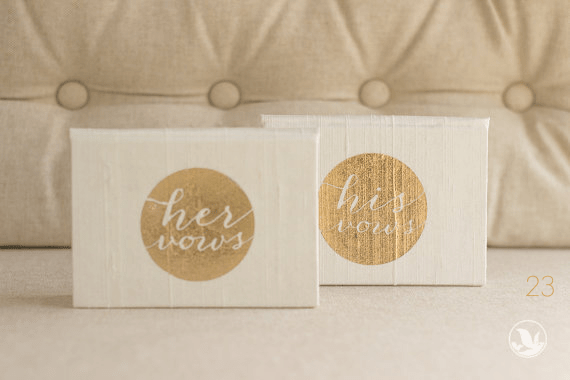 his her vow books via 30 Best Gold Foil Ideas for Weddings