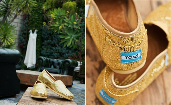 DIY Wedding Ideas: TOMS Gold Glitter Shoes | photo by Meghan Christine Photography
