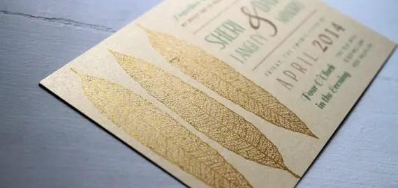 gold leaf wedding invitation