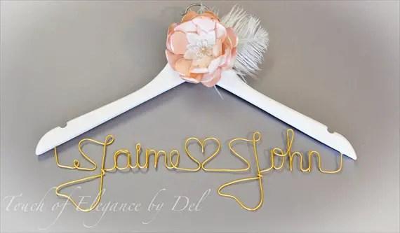 gold letters mr mrs wedding dress hanger