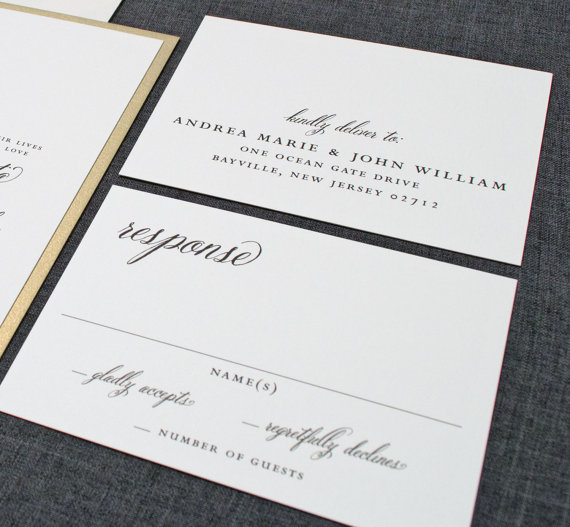 Cream and Gold Wedding Ideas: gold wedding invitation response cards (by Cricket Printing)