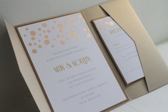 Gold Wedding Inspiration (gold invitation: golden silhouette)