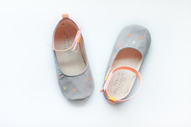 grey flower girl shoes with orange hearts neon | handmade flower girl shoes via http://emmalinebride.com/spring/handmade-flower-girl-shoes/