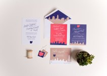 handdrawn cleveland skyline wedding invitation