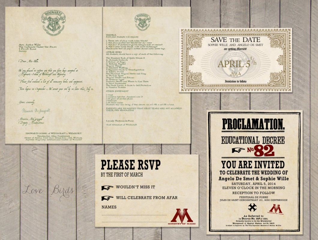 harry potter wedding invitation | via emmalinebride.com | 50+ Greatest Geeky Wedding Ideas of All Time