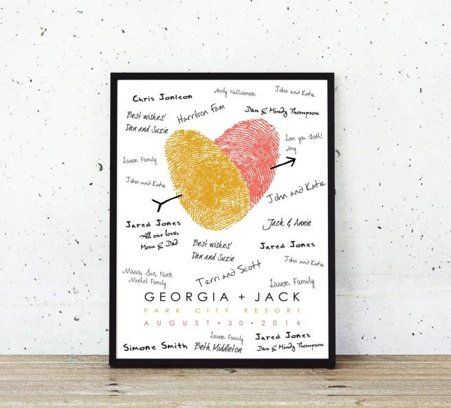 guest book alternative - thumbprint wedding ideas | http://emmalinebride.com/gifts/thumbprint-wedding/