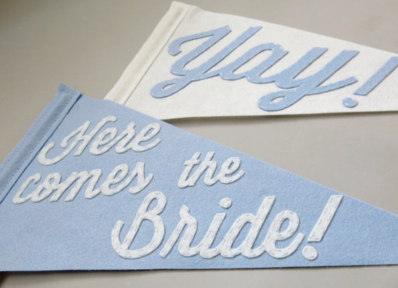here comes the bride felt wedding banner