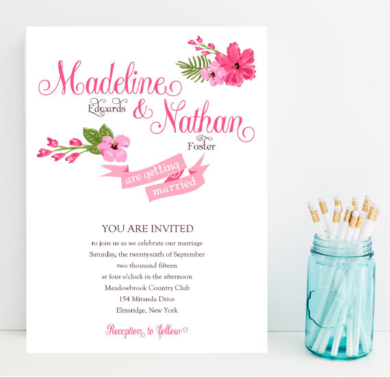 hot pink floral wedding invitations