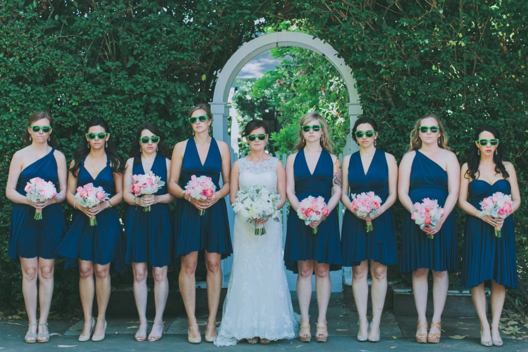 blue bridesmaid dresses, girls wearing sunglasses via http://emmalinebride.com/bridesmaids/bridesmaid-dress-worn-different-ways/