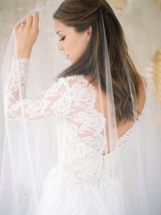 Lace Back Wedding Dress with Sleeves