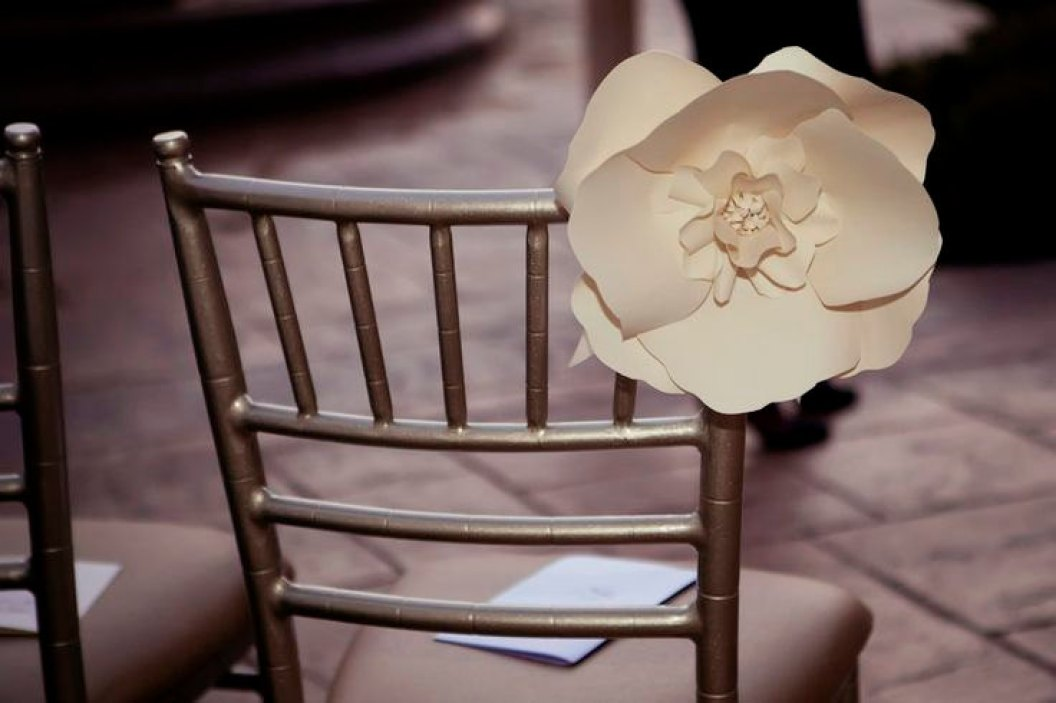 white paper flower chair decoration
