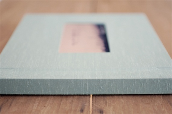 light blue handmade wedding album