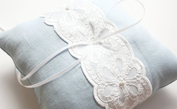 light blue lace ring pillow