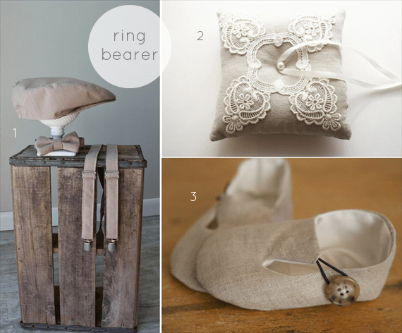 linen and lace wedding ring bearer finds