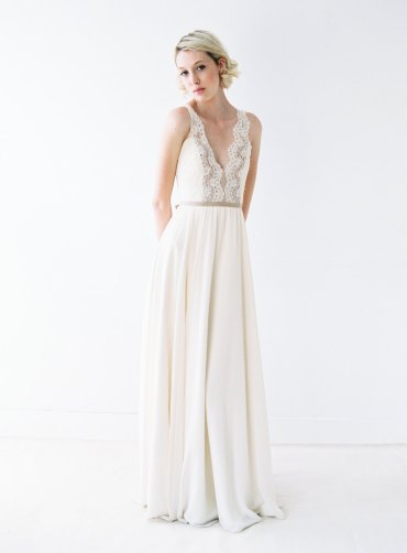 long chiffon lace wedding gown with low back by truvelle