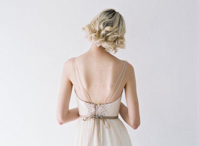 low back wedding dress with thin straps and chiffon by Truvelle