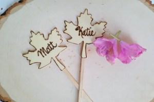 maple leaf cake topper set