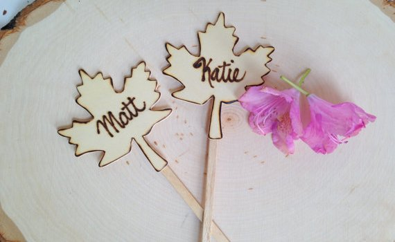 maple leaf cake topper set