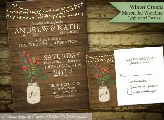 mason jar winter wedding invitations