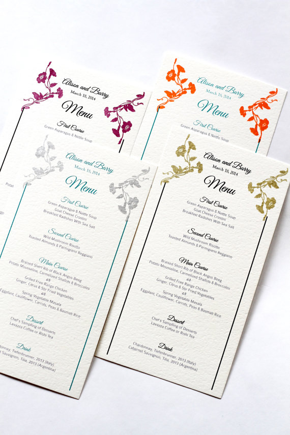 menu for wedding by golden silhouette via Colorful Wedding Accessories at emmalinebride.com