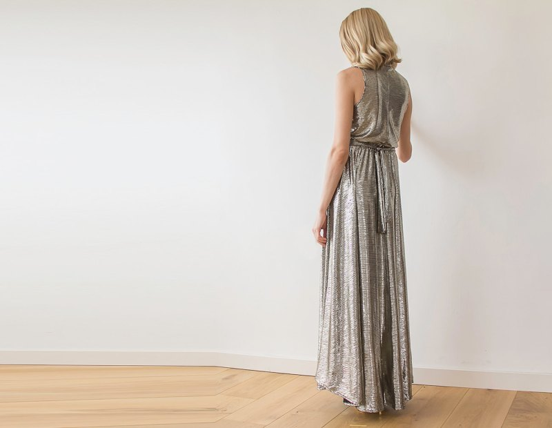 Metallic Bridesmaid Maxi Dress | via Bridesmaid Maxi Dresses http://emmalinebride.com/bridesmaids/bridesmaid-maxi-dresses/