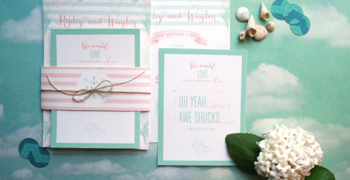 mint and coral wedding invitations
