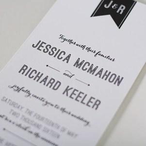 modern banner letterpress invitation