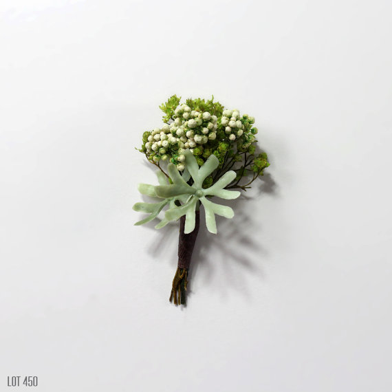 modern boutonniere made of succulent | via What Kind of Boutonniere to Pick (and Why) http://emmalinebride.com/groom/what-kind-of-boutonniere/