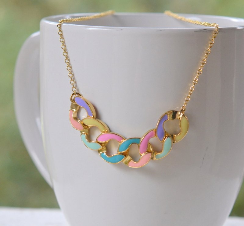 modern colorful chain necklace