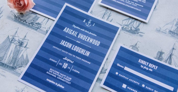 modern nautical wedding invite