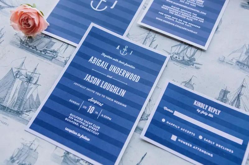 Modern Nautical Wedding Invitations by Crafty Pie Press | via http://emmalinebride.com/invites/nautical-wedding-invitations/