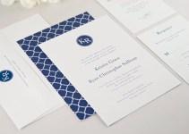 modern navy blue wedding invitations