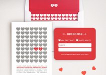 Modern Red and White Heart Wedding Invitations -- love these! By Lucy Loves Paper. | http://emmalinebride.com/invites/heart-invitations-weddings/