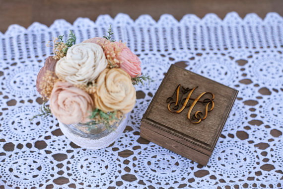 wood ring box with monogram on top