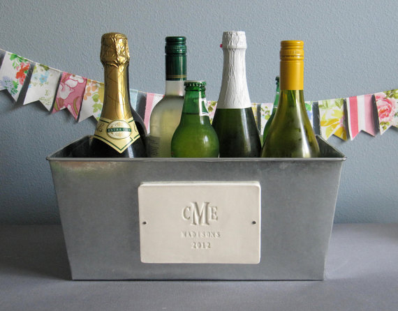 reusable wedding decorations - champagne tub with monogram
