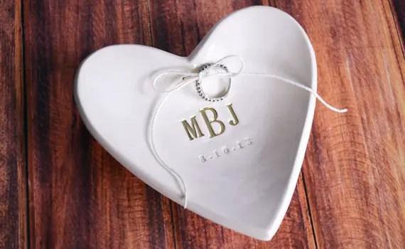 monogrammed wedding ring dish