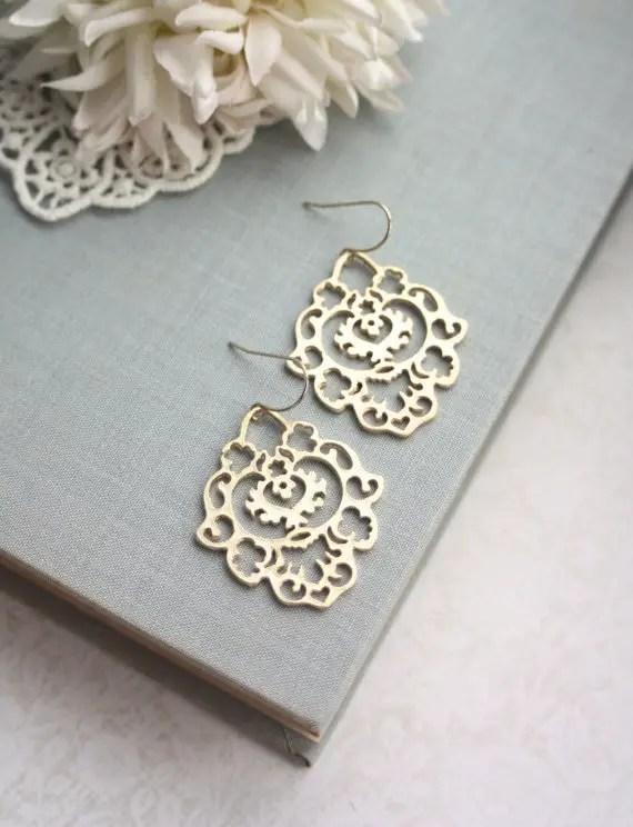 gold filigree earrings - Moroccan Wedding Jewelry by Marolsha