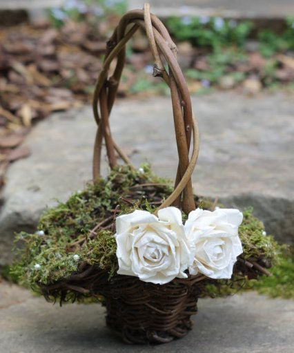 grapevine with moss rustic flower girl baskets