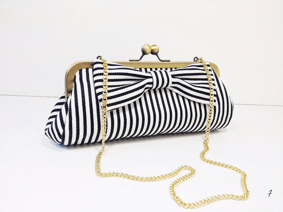 nautical wedding clutch striped with bow - 50+ Wedding Clutches by Theme