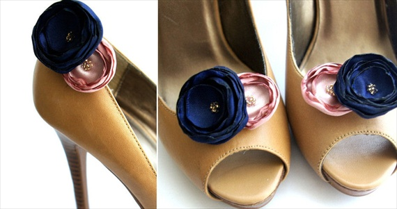 navy blue and pink wedding shoe clips via how to save money on wedding shoes