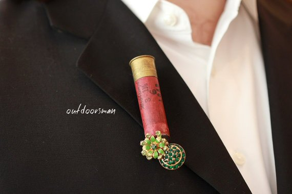 outdoorsman unique shotgun shell boutonniere - unique wedding boutonnieres