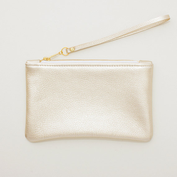 metallic wedding clutches - pale gold leather wristlet