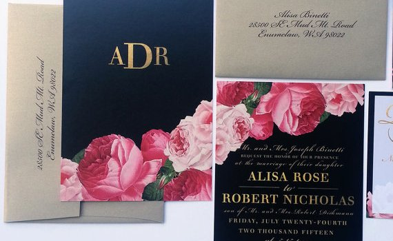 peony wedding invitations photo two