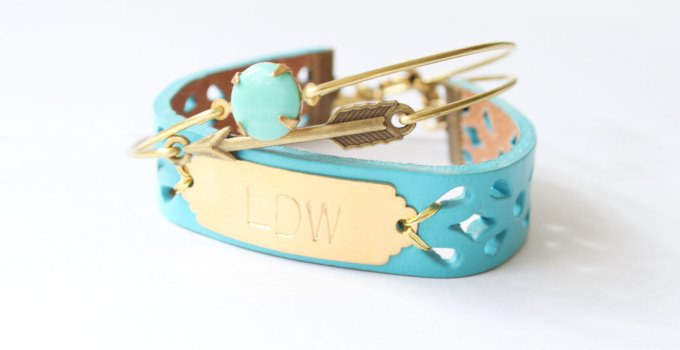 personalized bangle bracelets with leather bracelet cuff