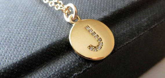 personalized gold initial disc necklace