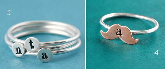 personalized stacking rings mustache