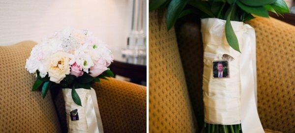 photo charm of bride's dad in locket wrapped around bouquet