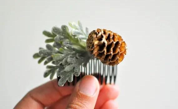 pinecone hair comb - winter wedding accessories
