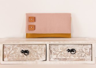 pink and mustard fold over cluch purse